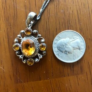 STERLING SILVER AMBER GLASS NECKLACE FROM NEPAL.